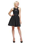 preiswerte Kleider für besondere Anlässe-A-Linie / Leger & Aufgebauscht Halter Knie-Länge Taft Kleines Schwarzes Kleid / Schlüsselloch Cocktailparty Kleid mit Drapiert durch TS Couture®