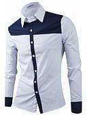 preiswerte Herrenhemden-Herrn Solide Patchwork Baumwolle Hemd, Klassischer Kragen