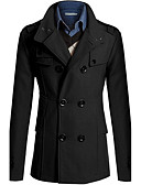 cheap Men's Jackets & Coats-Men's Casual / Work / Weekend Exaggerated Spring / Fall / Winter Regular Coat, Solid Colored Long Sleeve Cotton / Polyester Gray / Cyan / Camel L / XL / XXL