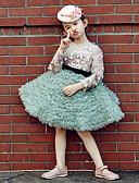 זול שמלות לילדות פרחים-נשף באורך  הברך שמלה לנערת הפרחים - טול סאטן נמתח שרוול ארוך עם תכשיטים עם נצנצים ריקמה קפלים על ידי Huaxirenjiao