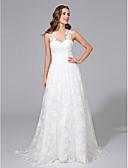 preiswerte Hochzeitskleider-A-Linie Illusionsausschnitt Pinsel Schleppe Spitze Maßgeschneiderte Brautkleider mit Applikationen durch LAN TING BRIDE®