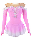 cheap Ice Skating Dresses , Pants & Jackets-Figure Skating Dress Women's / Girls' Ice Skating Dress Pink Flower Halo Dyeing Spandex, Mesh High Elasticity Performance Skating Wear Breathable, Handmade Novelty / Fashion / Dumb Light Long Sleeve