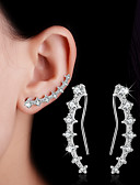 cheap Mother of the Bride Dresses-Women's Crystal / Synthetic Diamond Stud Earrings / Clip Earrings / Ear Climbers - Sterling Silver Leaf, Heart, Flower Personalized, Double-layer, Fashion Silver For Wedding / Party / Daily