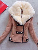 cheap Women's Down & Parkas-Women's Casual Faux Fur / Cotton Padded - Solid Colored Shirt Collar