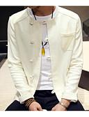 رخيصةأون كنزات هودي رجالي-رجالي أبيض XL XXL XXXL جاكيت النمط الصيني لون سادة نحيل / كم طويل / الخريف