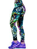 baratos Leggings para Mulheres-Mulheres Esportivo Legging - Floral, Estampado Cintura Média