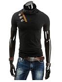 abordables Sudaderas de Hombre-Hombre Deportes Algodón Camiseta, Escote Chino Un Color