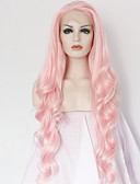 abordables Tops de Mujeres-Peluca Lace Front Sintéticas Ondulado Grande Rosa Pelo sintético Entradas Naturales / Raya en medio Rosa Peluca Mujer Larga Encaje Frontal / Sí