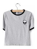 Χαμηλού Κόστους Ανδρικά μπλουζάκια και φανελάκια-Γυναικεία T-shirt Βαμβάκι Ριγέ Λουλούδι / Καλοκαίρι
