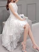 baratos Vestidos de Mulher-Mulheres Tamanhos Grandes Festa Evasê Vestido Sólido Assimétrico Branco