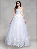 preiswerte Hochzeitskleider-Ballkleid Sweetheart Boden-Länge Tüll Maßgeschneiderte Brautkleider mit Paillette / Applikationen durch LAN TING BRIDE® / Glanz & Glamour
