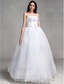 Χαμηλού Κόστους Νυφικά-Βραδινή τουαλέτα Στράπλες Μακρύ Δαντέλα Φορέματα γάμου φτιαγμένα στο μέτρο με Φιόγκος / Χάντρες / Διακοσμητικά Επιράμματα με LAN TING BRIDE®