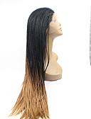 povoljno Digitalni satovi-Prednja perika od sintetičkog čipke Ravan kroj Sintentička kosa Prirodna linija za kosu / Perika s pletenicama / Afričke pletenice Crna Perika Žene Lace Front Crno / Strawberry Blonde / Da