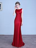 cheap Evening Dresses-Sheath / Column Jewel Neck Floor Length Stretch Satin Formal Evening Dress with Pleats by LAN TING Express
