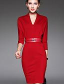 preiswerte Damen Kleider-Damen Freizeit Schlank Bodycon Kleid Solide Übers Knie V-Ausschnitt