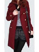 cheap Women's Coats & Trench Coats-Long Solid Colored Wool Black / Wine L / XL / XXL
