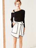 cheap Women's Dresses-Women's Simple A Line Skirts - Color Block Split