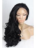 halpa Naisten kaksiosaiset asut-Synteettiset pitsireunan peruukit Runsaat laineet Synteettiset hiukset Luonnollinen hiusviiva Musta Peruukki Naisten Lace Front