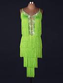 お買い得  ソシアルダンスウェア-ラテンダンス ドレス 女性用 性能 スパンデックス / オーガンザ ビーズ / タッセル ノースリーブ ナチュラルウエスト ドレス