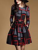 お買い得  レディースドレス-女性用 ストリートファッション Aライン ドレス 幾何学模様 膝上
