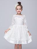 hesapli Çiçekçi Kız Elbiseleri-Çocuklar Genç Kız Dışarı Çıkma Solid Uzun Kollu Polyester Elbise Beyaz