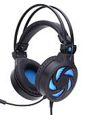 رخيصةأون هدايا المساند للحضور-SY855MV فوق الأذن عقال سلكي Headphones المحرك المتوازن بلاستيك الألعاب سماعة مع التحكم في مستوى الصوت مع ميكريفون عزل الضوضاء مضيء سماعة