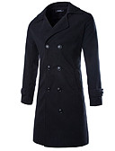 cheap Men's Jackets & Coats-Men's Daily / Weekend Fall / Winter Long Overcoat, Solid Colored Shirt Collar Long Sleeve Black / Gray / Camel XL / XXL / XXXL