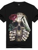 billige Hettegensere og gensere til herrer-Bomull Rund hals T-skjorte Herre Trykt mønster Aktiv / Punk & Gotisk Sport / Kortermet