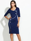 זול שמלות מודפסות-כחול עד הברך אחיד - שמלה צינור כותנה מידות גדולות עבודה בגדי ריקוד נשים / רזה
