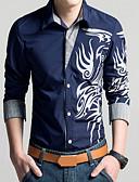 levne Pánské košile-Pánské - Geometrický Vintage Větší velikosti Košile, Tisk Klasický límeček Štíhlý Červená XXL / Dlouhý rukáv / Jaro / Podzim