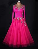cheap Ballroom Dance Wear-Ballroom Dance Dresses Women's Performance Chinlon / Organza Appliques / Crystals / Rhinestones Long Sleeve Dress