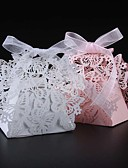 cheap Flower Girl Dresses-Round Square Creative Pearl Paper Favor Holder with Ribbons Printing Favor Boxes - 50