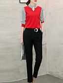 abordables Camisas y Camisetas para Mujer-Mujer Camiseta, Cuello Barco Retazos Poliéster