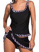 cheap Women's Swimwear & Bikinis-Women's Sporty Strap Black Skirt Tankini Swimwear - Solid Colored M L XL