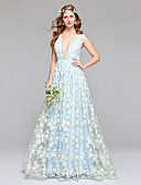 preiswerte Hochzeitskleider-A-Linie Tiefer Ausschnitt Boden-Länge Spitze / Tüll Maßgeschneiderte Brautkleider mit Spitze durch LAN TING BRIDE® / Farbige Brautkleider