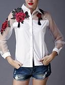 ieftine Bluze & Camisole Femei-Pentru femei Guler Cămașă Cămașă Ieșire Sofisticat - Brodată / Primăvară / Vară