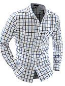 זול חולצות לגברים-משובץ צווארון קלאסי כותנה, חולצה - בגדי ריקוד גברים