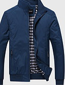 cheap Men's Jackets & Coats-Men's Casual / Daily Simple Spring Regular Jacket, Solid Colored Stand Long Sleeve Cotton Blue / Black