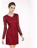 זול שמלות נשים-צווארון V גיזרה גבוהה מעל הברך תחרה, אחיד - שמלה תחרה מידות גדולות מתוחכם מועדונים בגדי ריקוד נשים / אביב / סתיו