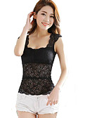 cheap Women's Tanks-Women's Tank Top - Solid Colored, Lace Deep U