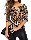 cheap Women's T-shirts-Women's T-shirt - Leopard V Neck