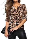 baratos Blusas Femininas-Mulheres Camiseta Leopardo Decote V