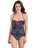 povoljno Bikini i kupaći 2017-Žene Veći konfekcijski brojevi Na vezanje oko vrata Jednodijelno - Cvjetni print Otvorena leđa