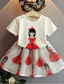 tanie Zestawy ubrań dla dziewczynek-Brzdąc Dla dziewczynek Codzienny Nadruk Krótki rękaw Bawełna / Jedwab wiskozowy Komplet odzieży Biały 100