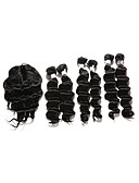 cheap Fashion Belts-Indian Hair Deep Wave Hair Weft with Closure Human Hair Weaves Natural Black Human Hair Extensions