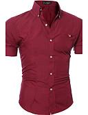 povoljno Muške košulje-Majica Muškarci Dnevno Pamuk Jednobojni Ovratnik s gumbima