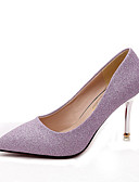 abordables Relojes Brazalete-Mujer Zapatos PU Otoño Tira en T Tacones Tacón Stiletto Dedo Puntiagudo Lentejuela Negro / Plata / Morado