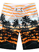cheap Men's Tees & Tank Tops-Men's Active / Boho Plus Size Cotton / Rayon Loose / Shorts Pants - Striped Patchwork / Beach