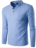 cheap Men's Tees & Tank Tops-Men's Sports Cotton Slim T-shirt - Solid Colored Stand / Long Sleeve