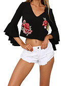 cheap Women's Hoodies & Sweatshirts-Women's T-shirt - Solid Colored / Floral V Neck / Embroidery